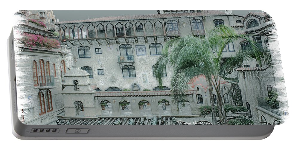 Mission Inn Portable Battery Charger featuring the digital art Mission Inn Court Yard by Tommy Anderson