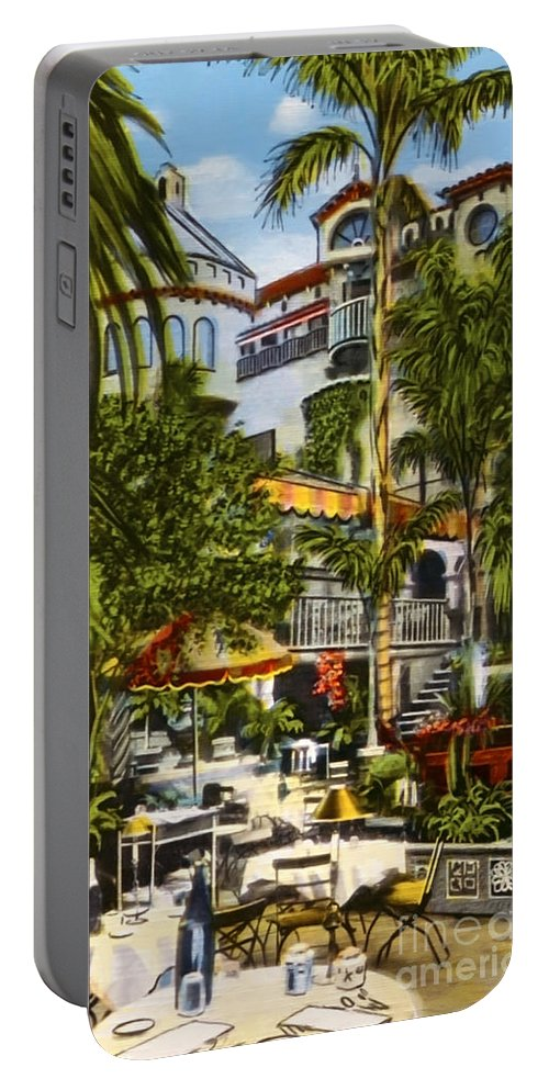 Spanish Patio Portable Battery Charger featuring the photograph Mission Inn Spanish Patio 1940s by Sad Hill - Bizarre Los Angeles Archive
