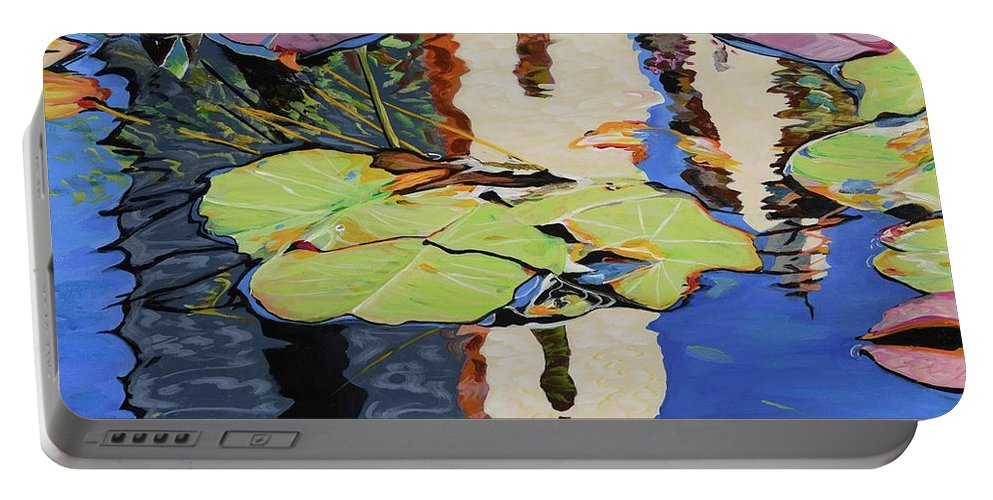 Waterlillies Portable Battery Charger featuring the painting Mission Reflection by Pamela Trueblood