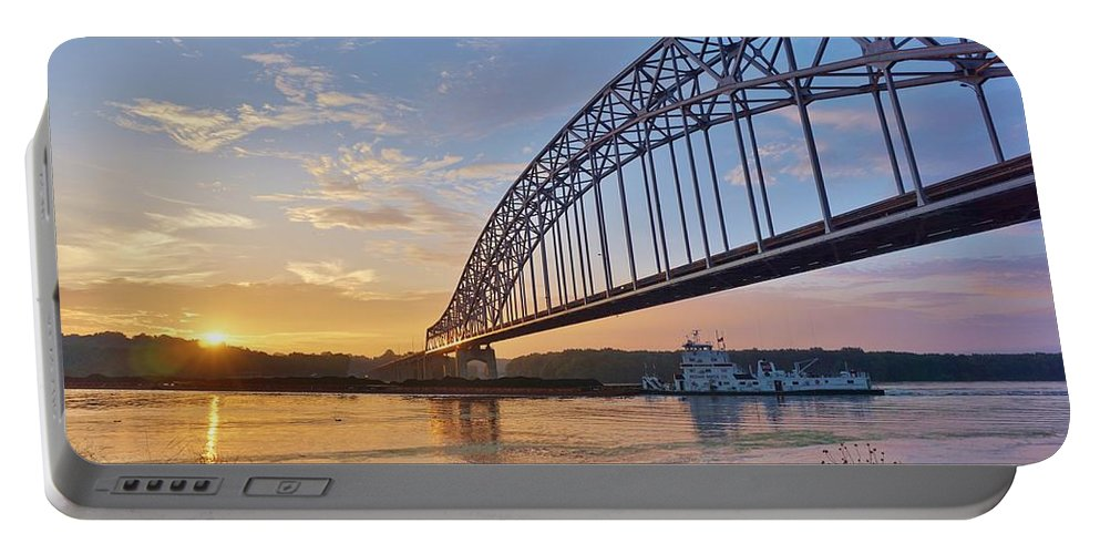 Mississippi Portable Battery Charger featuring the photograph Mississippi Sunrise Crossing by Red Cross