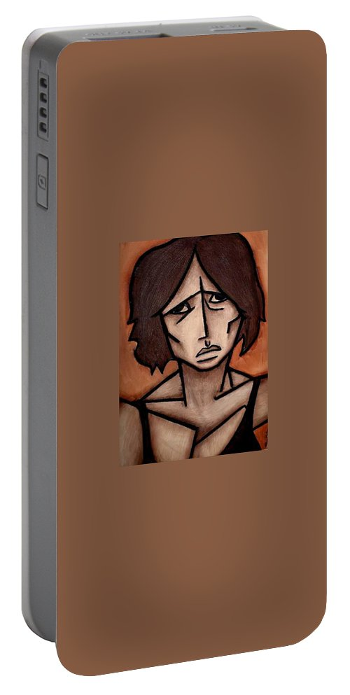 Potrait Portable Battery Charger featuring the painting Missy by Thomas Valentine