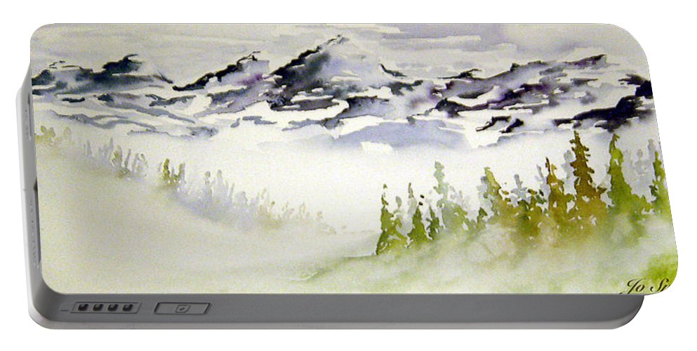 Rock Mountain Range Alberta Canada Portable Battery Charger featuring the painting Mist In The Mountains by Joanne Smoley