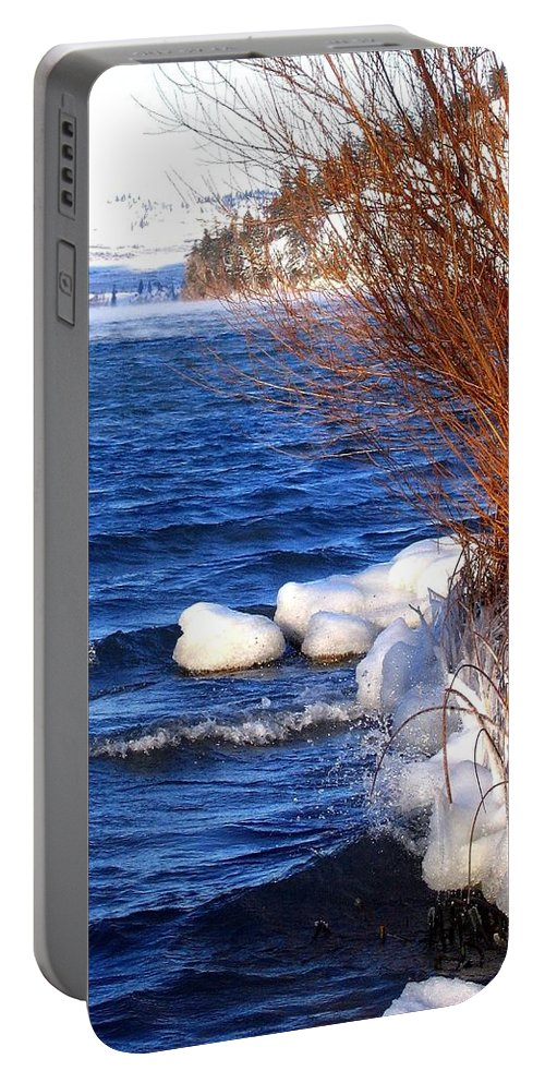 Kalamalka Portable Battery Charger featuring the photograph Mist On Kalamalka by Will Borden