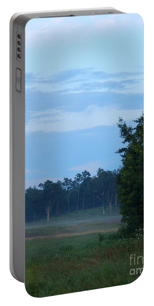 Landscape In Maine Portable Battery Charger featuring the photograph Mist Rolls In And Blue Sky At Sunset by Expressionistart studio Priscilla Batzell
