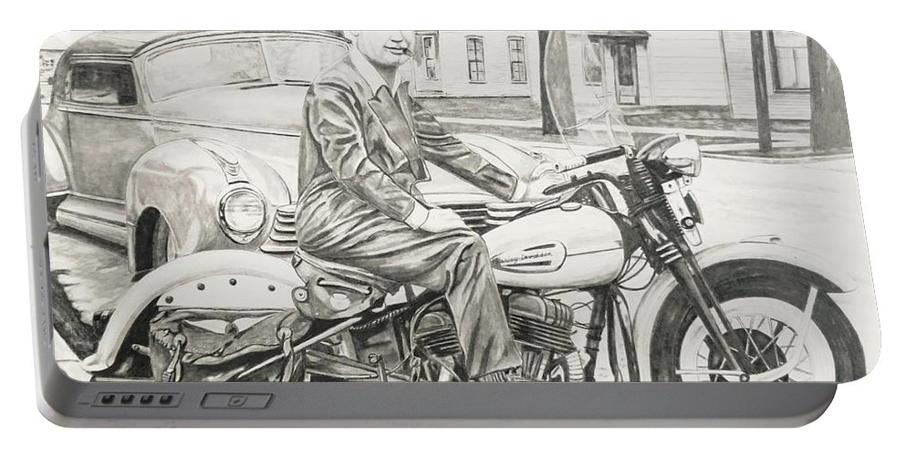Harley Portable Battery Charger featuring the drawing Mister Cool by Charles Rogers