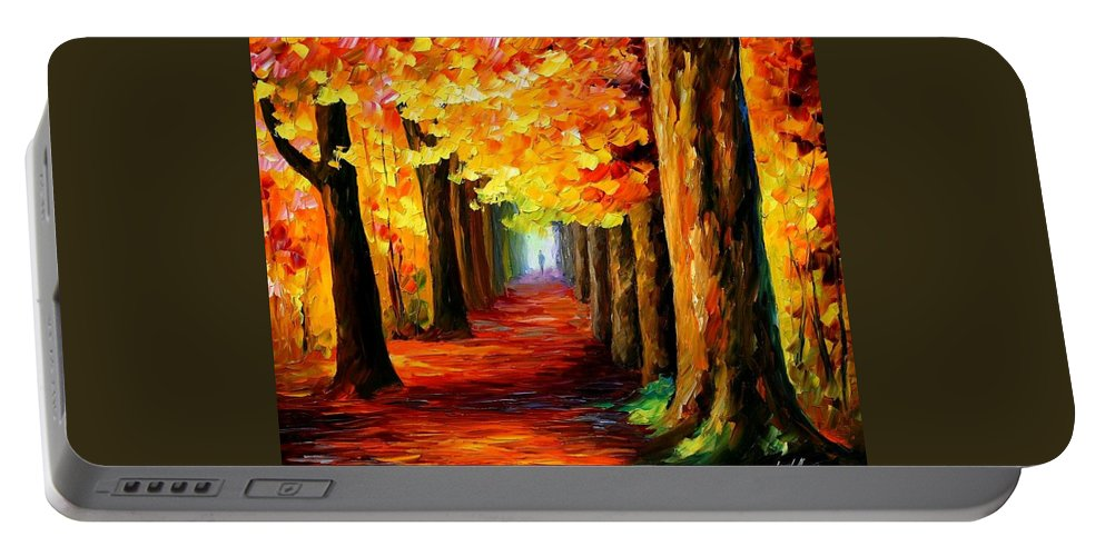 Afremov Portable Battery Charger featuring the painting Mistery Alley by Leonid Afremov
