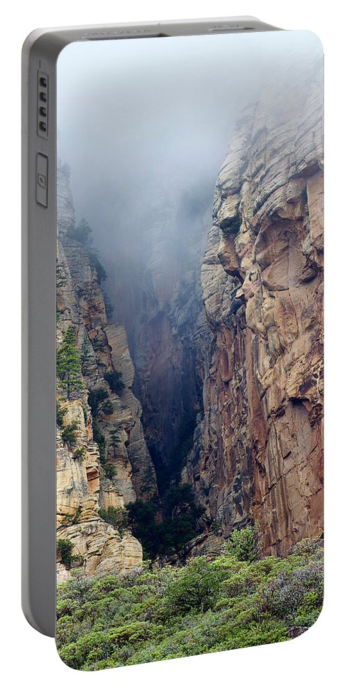 Red Rocks Portable Battery Charger featuring the photograph Misty Canyons by Phyllis Denton