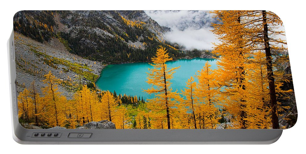 Alpine Lakes Wilderness Portable Battery Charger featuring the photograph Misty Colchuck Lake by Inge Johnsson
