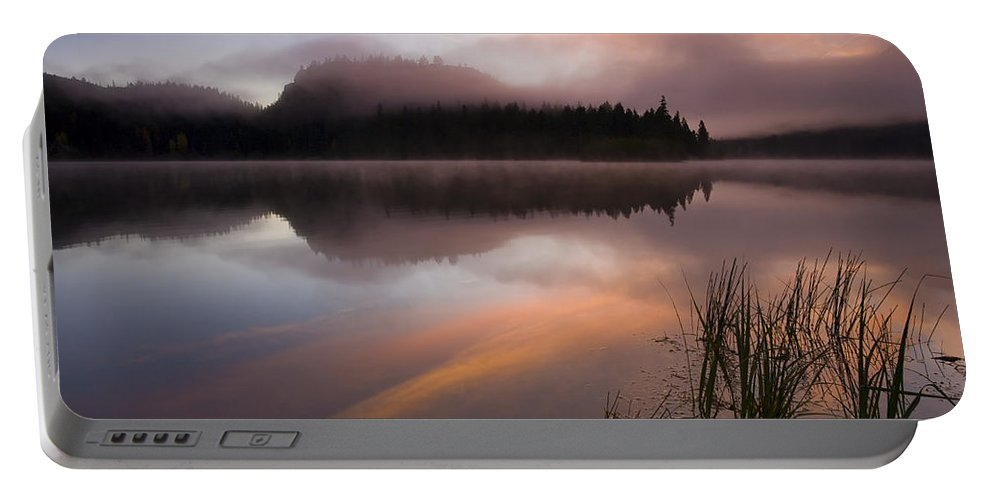Sunrise Portable Battery Charger featuring the photograph Misty Dawn by Mike Dawson