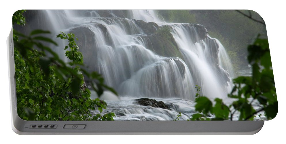 Waterfalls Portable Battery Charger featuring the photograph Misty Falls by DeeLon Merritt