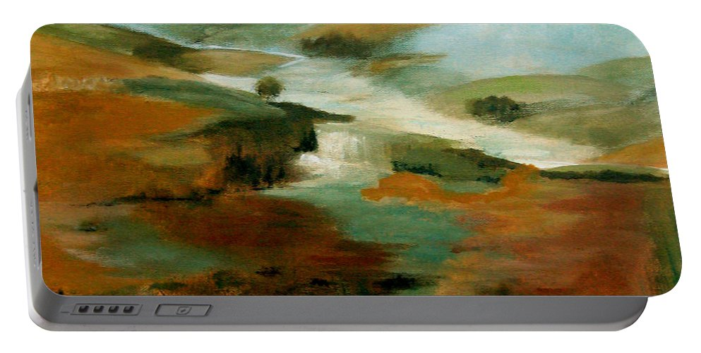 Abstract Portable Battery Charger featuring the painting Misty Hills by Ruth Palmer