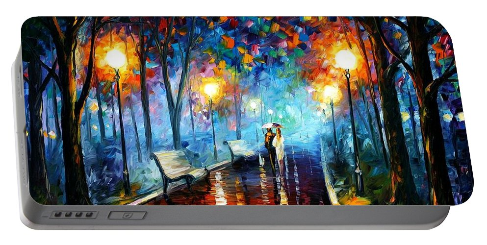 Afremov Portable Battery Charger featuring the painting Misty Mood by Leonid Afremov