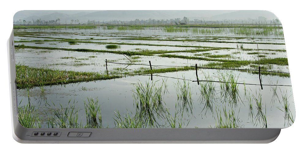 Asia Portable Battery Charger featuring the photograph Misty Morning In China by Michele Burgess