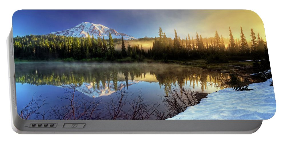 Mountain Portable Battery Charger featuring the photograph Misty Morning Lake by William Freebilly photography