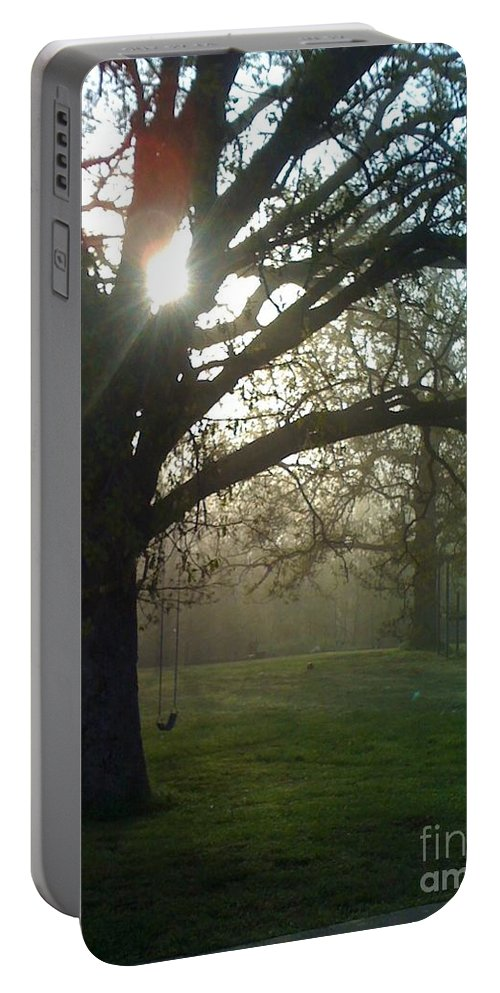 Mist Portable Battery Charger featuring the photograph Misty Morning by Nadine Rippelmeyer