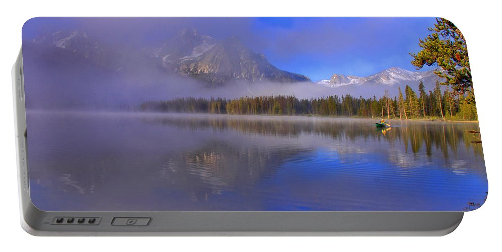 Lake Portable Battery Charger featuring the photograph Misty Morning On A Canoe by Scott Mahon