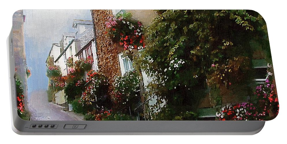 Buildings Portable Battery Charger featuring the painting Misty Morning On Crookback Hill by RC DeWinter