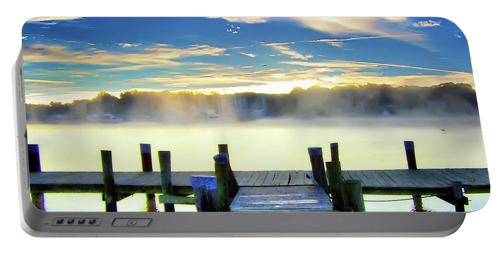 2d Portable Battery Charger featuring the photograph Misty Morning On Rock Creek by Brian Wallace