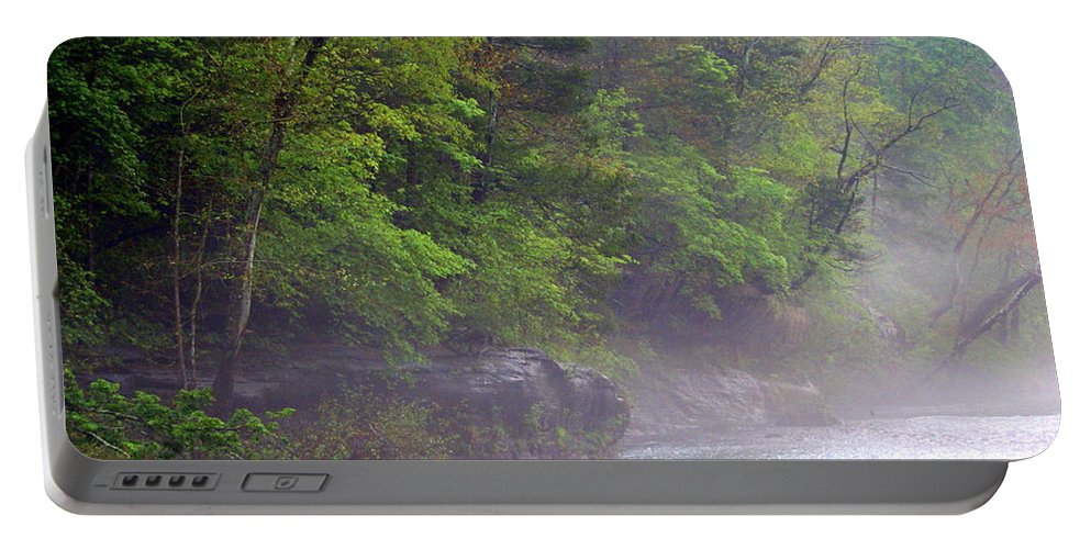 Buffalo National River Portable Battery Charger featuring the photograph Misty Morning On The Buffalo by Marty Koch