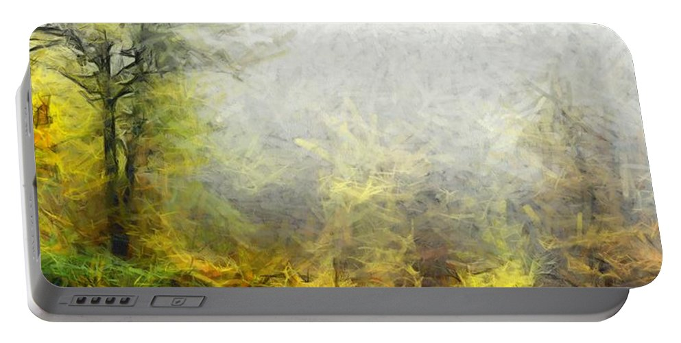 Landscape Portable Battery Charger featuring the painting Misty No.2 by Lelia DeMello