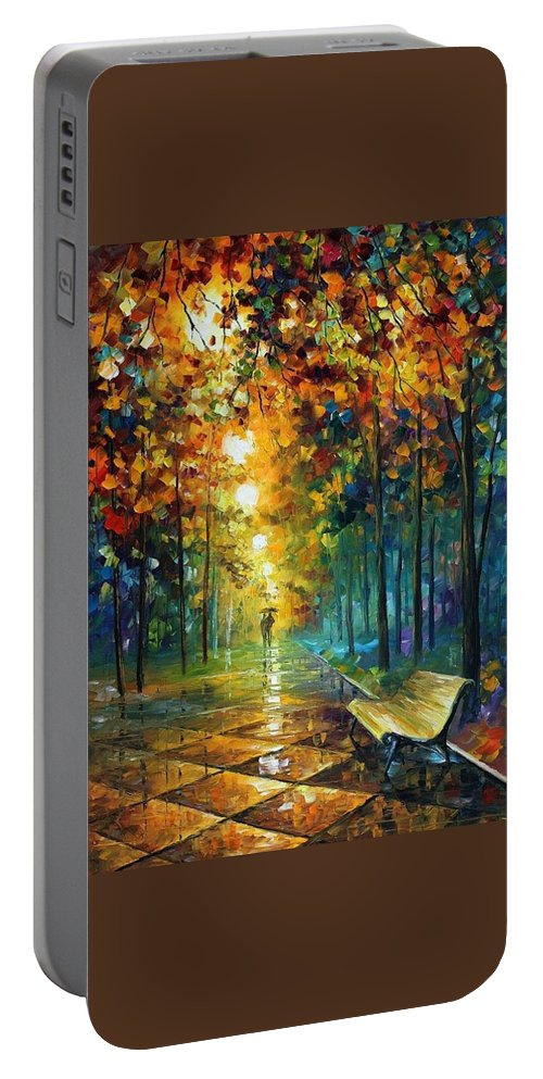Afremov Portable Battery Charger featuring the painting Misty Park by Leonid Afremov
