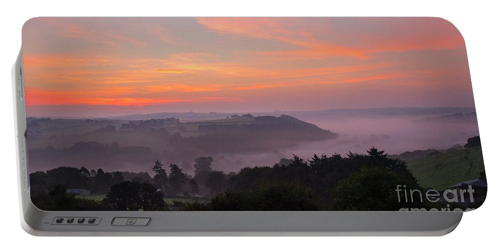 Sunrise Portable Battery Charger featuring the photograph Misty Sunrise by Chris Thaxter