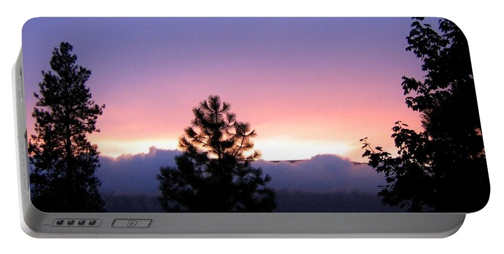 Sunset Portable Battery Charger featuring the photograph Misty Sunset by Will Borden