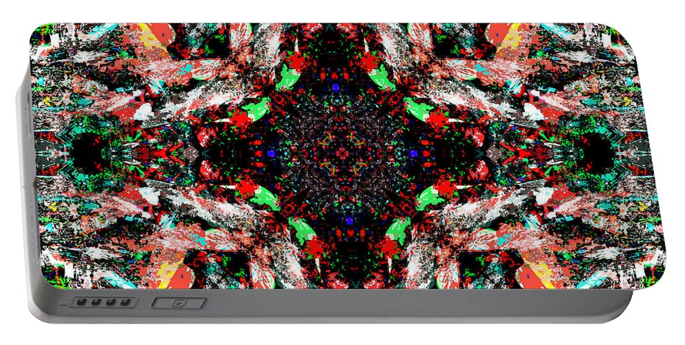 Abstract Portable Battery Charger featuring the digital art Mix Edit by Blind Ape Art