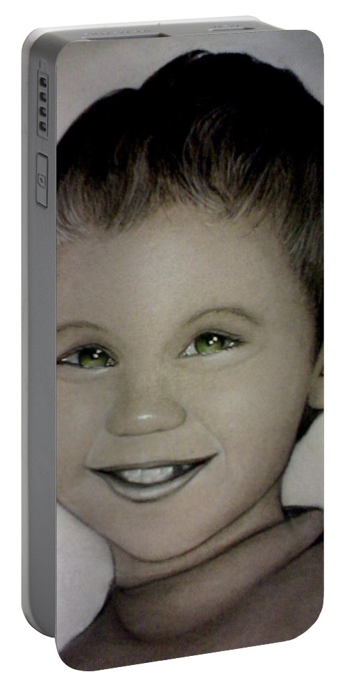 Portrait Portable Battery Charger featuring the drawing Mixalis by Catt Kyriacou