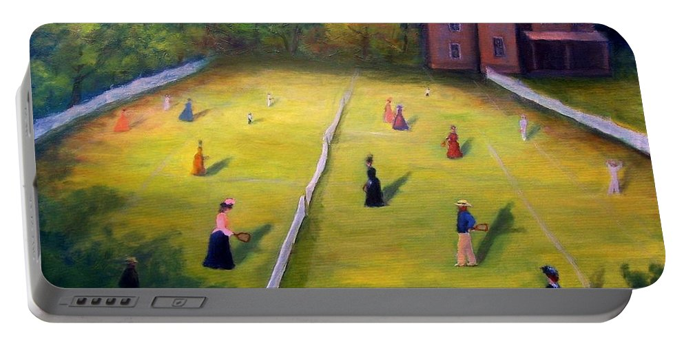 Tennis Art Portable Battery Charger featuring the painting Mixed Doubles by Gail Kirtz