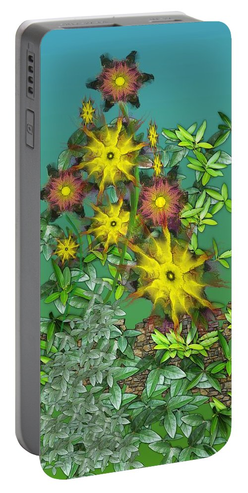 Flowers Portable Battery Charger featuring the digital art Mixed Flowers by David Lane