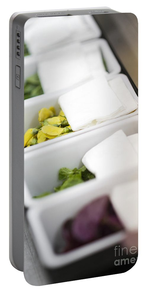 Asian Portable Battery Charger featuring the photograph Mixed Fresh Herbs In Kitchen Interior by Jacek Malipan