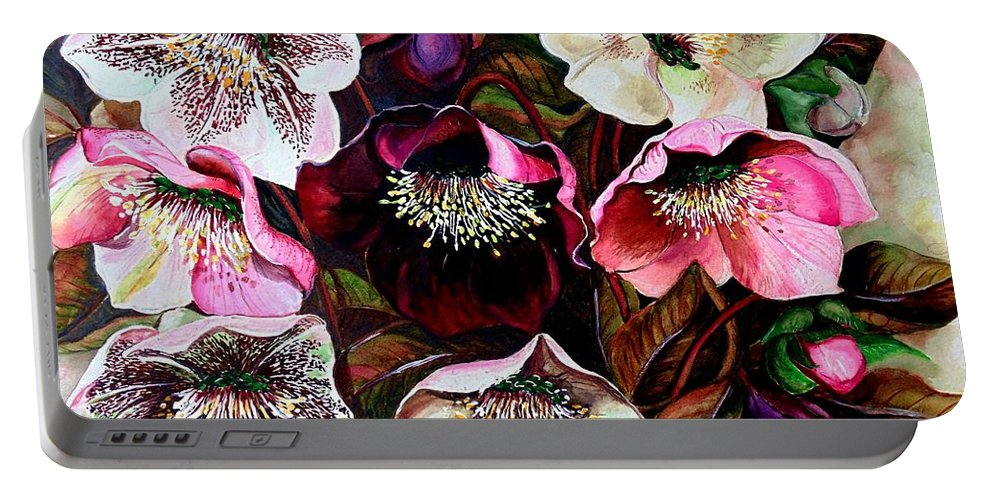 Pink Floral Portable Battery Charger featuring the painting Mixed Hellebore by Karin Dawn Kelshall- Best
