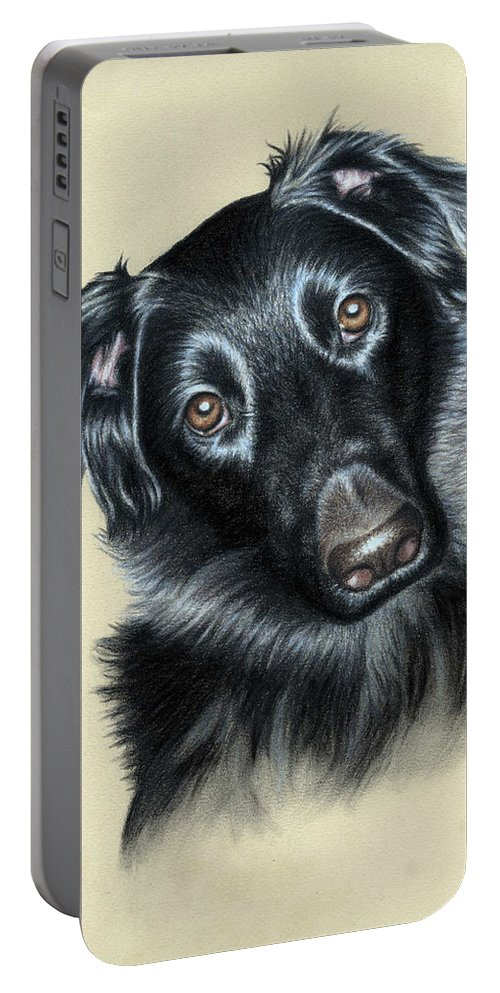 Dog Portable Battery Charger featuring the pastel Mixed Race Paula by Nicole Zeug