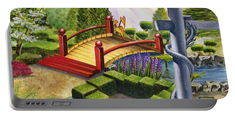 Escher Portable Battery Charger featuring the painting Mobius Gardens by Melissa A Benson
