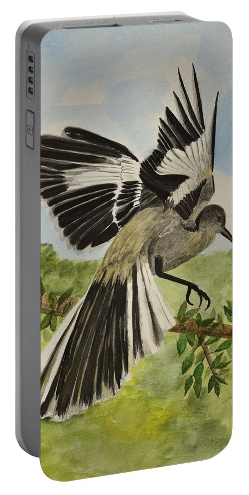 Lindabrody Portable Battery Charger featuring the painting Mockingbird Landing by Linda Brody