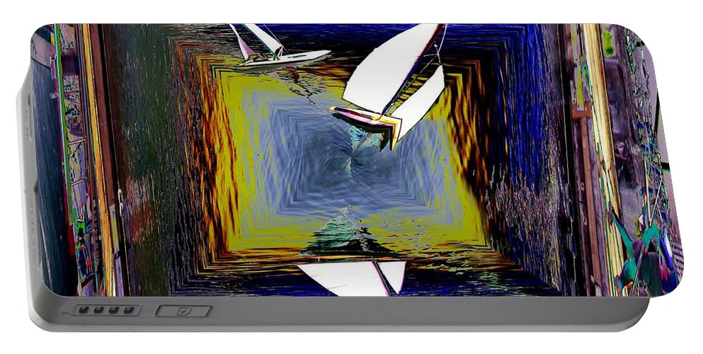 Sail Portable Battery Charger featuring the digital art Model Sailboats by Tim Allen