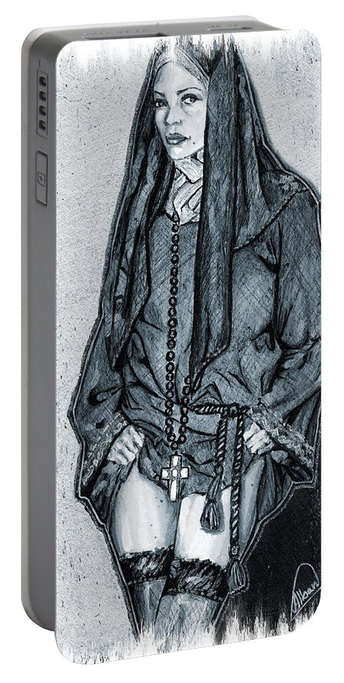 Model Portable Battery Charger featuring the mixed media Model Wearing A Religeous Uniform by Alban Dizdari