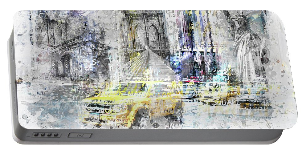 7th Avenue Portable Battery Charger featuring the digital art Modern Art New York City Collage by Melanie Viola