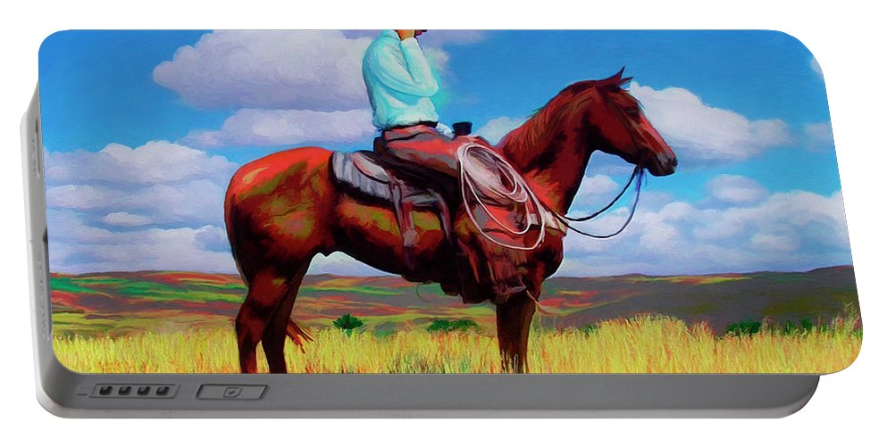 Cowboy Portable Battery Charger featuring the digital art Modern Cowboy by Snake Jagger