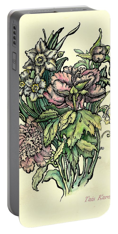 Watercolor Flower Portable Battery Charger featuring the drawing Peony by Tais Karelina