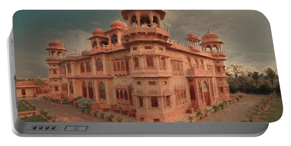 Architecture Portable Battery Charger featuring the digital art Mohatta Palace At Sunset by Syed Muhammad Munir ul Haq