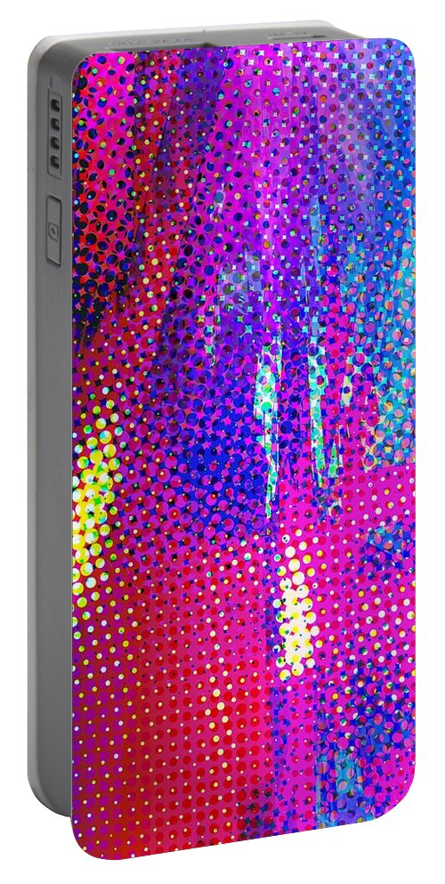 Abstract Portable Battery Charger featuring the digital art Moire No. 2 by James Kramer