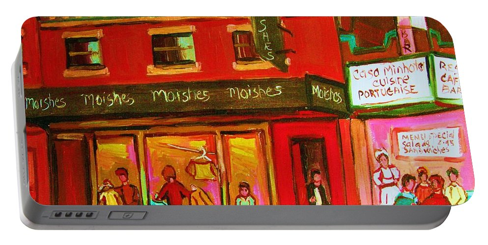 Moishes Portable Battery Charger featuring the painting Moishes Steakhouse On The Main by Carole Spandau