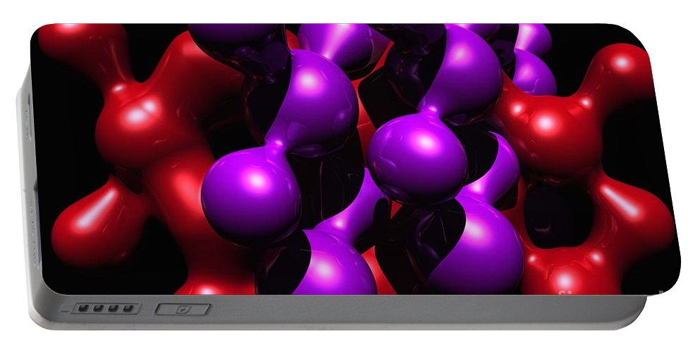 Abstract Portable Battery Charger featuring the digital art Molecular Abstract by David Lane