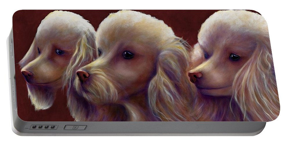 Dogs Portable Battery Charger featuring the painting Molly Charlie And Abby by Shannon Grissom