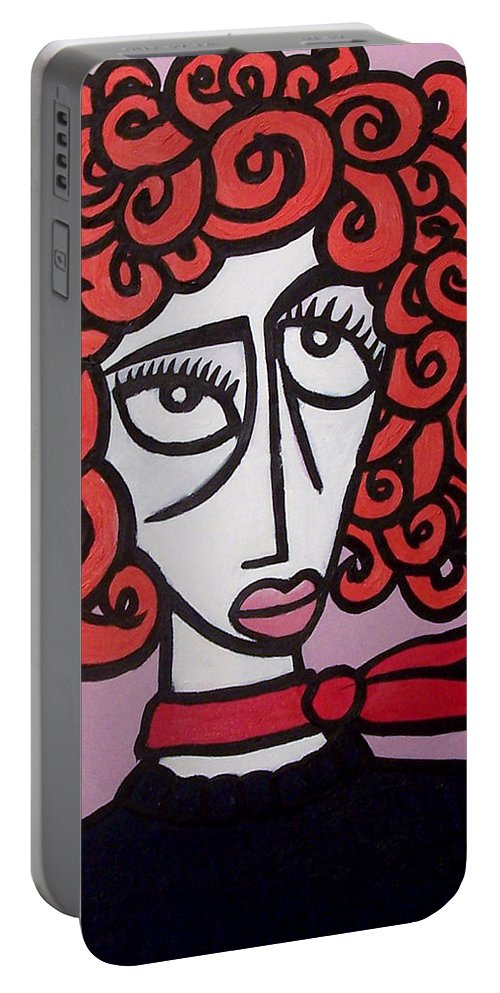 Portaits Portable Battery Charger featuring the painting Molly by Thomas Valentine