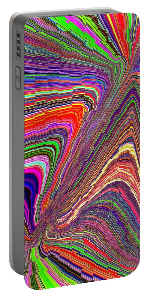 Abstract Portable Battery Charger featuring the digital art Molten Rainbow Redux by Tim Allen