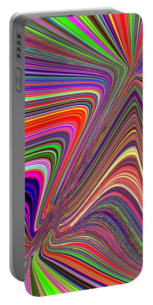 Abstract Portable Battery Charger featuring the digital art Molten Rainbow by Tim Allen