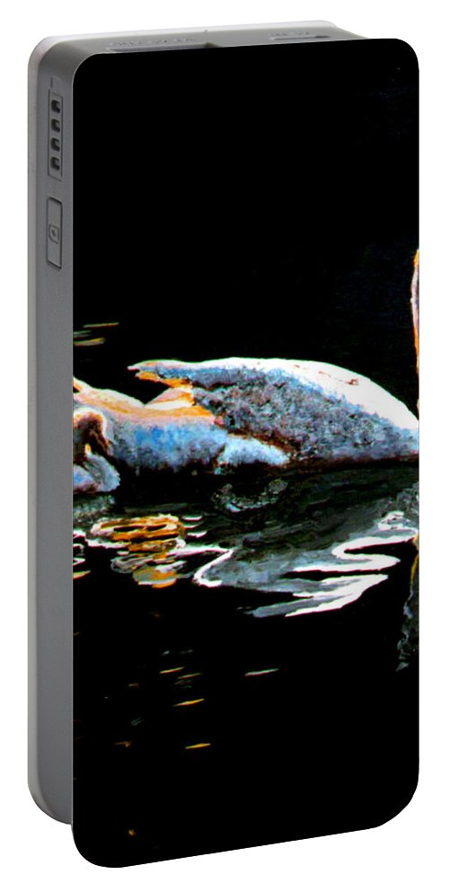 Swan Portable Battery Charger featuring the painting Mom And Baby Swan by Stan Hamilton